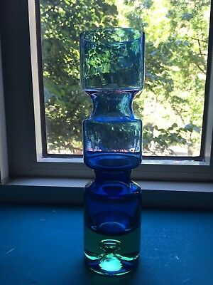 "Mid Century Modern Blue & Green Art Glass Vase, 10"" Inches"