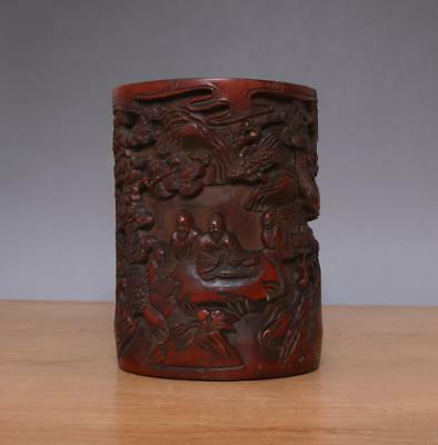 Chinese Carved Figures Bamboo Brush Pot w/Figures