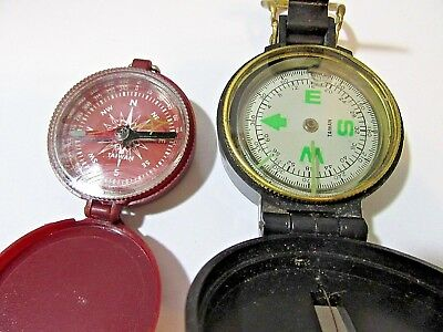 Lot Of Two Compass Taiwan Working Large Face Red Liquid And Needle Vintage