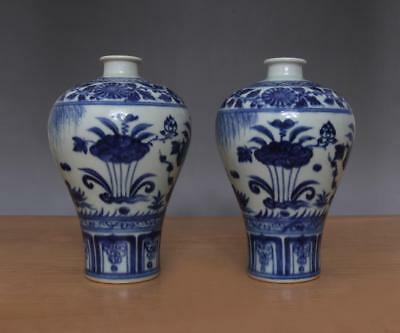 Xuande Signed Pair Antique Chinese Blue & White Porcelain Vases w/Duck