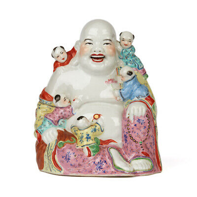 Vintage Chinese Porcelain Buddha & Children Figure 20Th C.