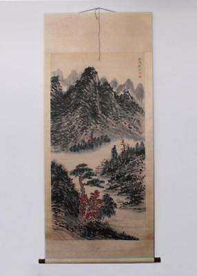 Huang Binhong Signed Old Chinese Hand Painted Calligraphy Scroll w/Mountain