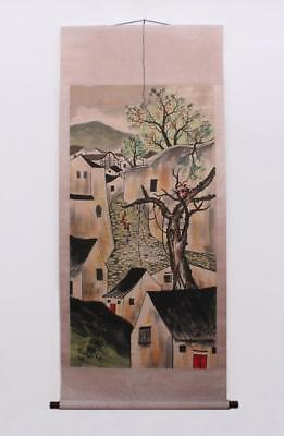Wu Guanzhong Signed Old Chinese Hand Painted Calligraphy Scroll w/House
