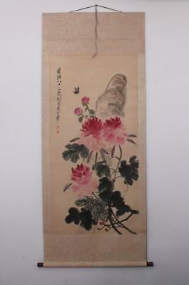 Qi Baishi Signed Old Chinese Hand Painted Calligraphy Scroll w/Peony