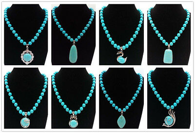 Real 8mm Blue Turquoise Beads & Natural Turquoise Pendant Necklace 18''