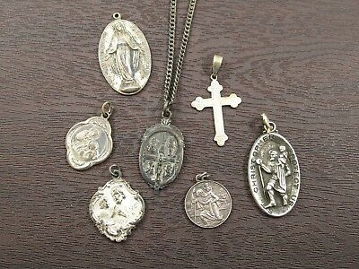 Religious Christian Medals Lot of 7 Vintage Sterling Silver + Chain Necklace