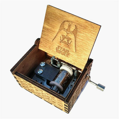 Star Wars Wooden Engraved Music Box Theme Hand Operated Darth Vader Crafts Gift