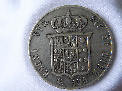120 grana Sizilien 1859 Franziskus II 2 silver coin Münze Silber italy franciscu