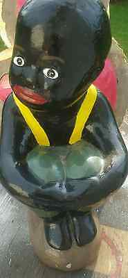 New..black Americana Cement Fishing Boy  Statue.. With Bamboo Perfecto Colors.