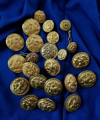 Vintage Military Lot Of 23 Us Army & Navy Assorted Brass Buttons