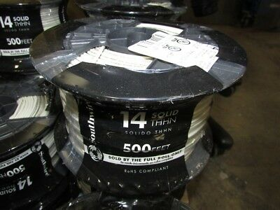 New 500 Ft Spool Solid White 14 Gauge Copper THHN Wire