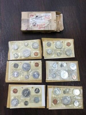 Lot Of 6 1965 Canadian Uncirculated Prooflike Blunt 5 6 Coin Set