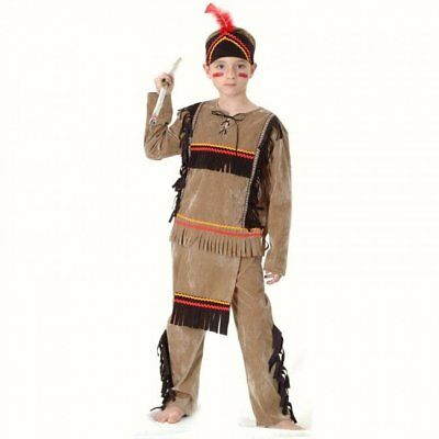 Indian boy Brave Wild West Childs Fancy Dress costume outfit 7 8 9 10 11