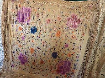 Rare antique silk piano shawl very large embroidered purple roses from '20's