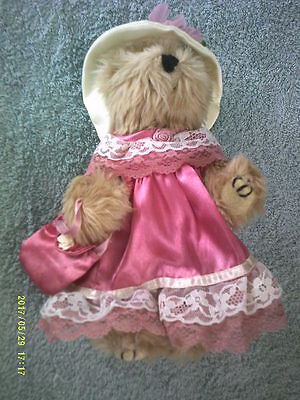 Jointed Boyd's ? Teddy Bear wearing Pink Satin Dress with Matching Purse, Hat