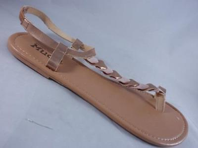 7c4a5d4bbbfa70 Women s MUDD Blush+Gold Toe Loop Sling Back Sandals Casual Shoes NEW sz 9-