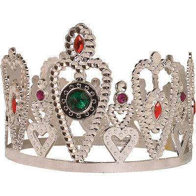 SILVER CROWN Princess Queen Headpiece w Jewels Gems Hearts One Size Child Adult