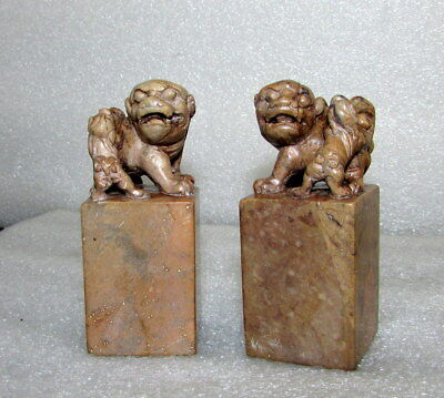Pair Antique Chinese Soapstone Foo Dog Chop Seals