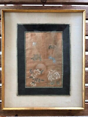 Antique Chinese Framed Embroidery Panel Flowers Blossoms Scholar Art NICE NR