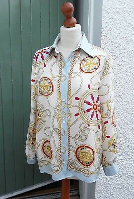 Vintage Burberry Silk Blouse Scarf Print Nautical Rope Anchors Size M /10/12/14