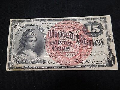 O122 USA Fractional Currency 1863 4th Issue 15 Cents Very Choice AU