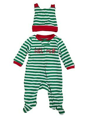 f16aa6c80 CARTERS INFANT BOYS Green Stripe Santa Helper Christmas Sleeper ...