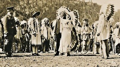 1927 RPPC President Calvin Coolidge Adopted Into Sioux Indian Tribe, Deadwood SD