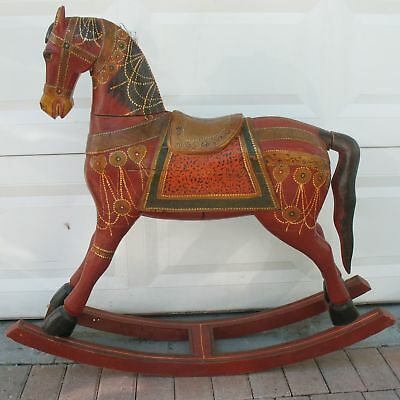 Large Mid Century Indian Wood Hand Carved Painted Wooden Rocking Horse
