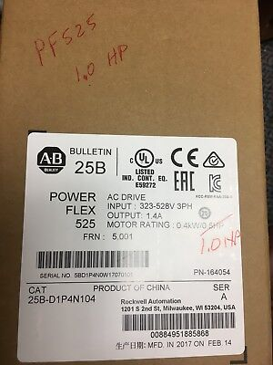 2017 New Factory Sealed Allen Bradley 25B-D1P4N104 Ser A Powerflex 525 Ac Drive