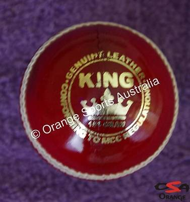 3 X KING (Wool Centred) RED Hand Sewn BAT FRIENDLY Leather Cricket Ball (4 Pc)