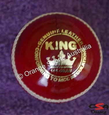 1 X KING (Wool Centred) RED Hand Sewn BAT FRIENDLY Leather Cricket Ball (4 Pc)