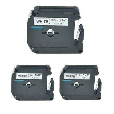 3PK M-K231 MK231 Black On White Label Tape For Brother P-Touch PT-110 12mm 1/2""