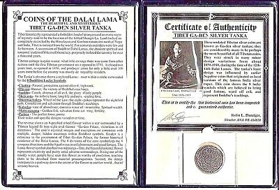 Tibet Silver Tanka Coin of the Dalai Lama with Album & Certificate,Free Shipping