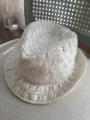 baby gap Girls White Crochet Fedora Hat Off White Size M L a7e6b349a123