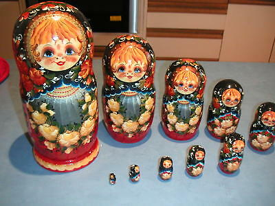 """Genuine Hand Painted Babushka Dolls from Moscow 10 1/4"""" Tallest 10 piece"""