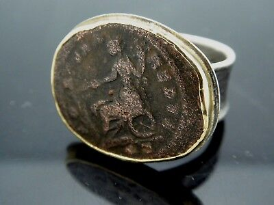 Vintage Athena Ancient Roman Coin Sterling Silver 14k Yellow Gold Ring Size 9