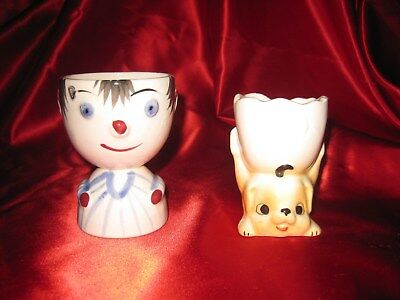 Vintage Anthropomorphic Double Egg Cup S Lot Of Two Male And Dog