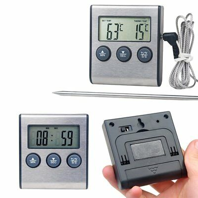 Digital Probe Food Cooking Timer Kitchen BBQ Oven Grill Thermometer Alert CU