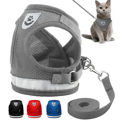 Cat Walking Jacket Harness Leash Escape Proof Adjustable Pet Puppy Dog Mesh Vest