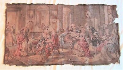 "Antique Woven Victorian Tapestry / French Renaissance Parlor Scene, 35"" x 18.5"""