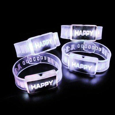 1/5Pcs Flash Bracelet Happy LED Wrist Band Glowing Bangle Party Boy Girl Gift CU