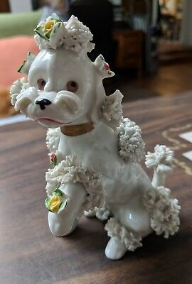Vintage 1950's LARGE Spaghetti POODLE Dog Figurine w/Scattered Flowers