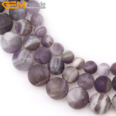 Natural Round Frosted Matte Dream Lace Purple Amethyst Beads Jewelry Making 15''