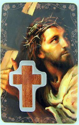 Crown of Thorns Holy Prayer to Jesus Crucified Card with Wood Cross, 3 1/4 Inch