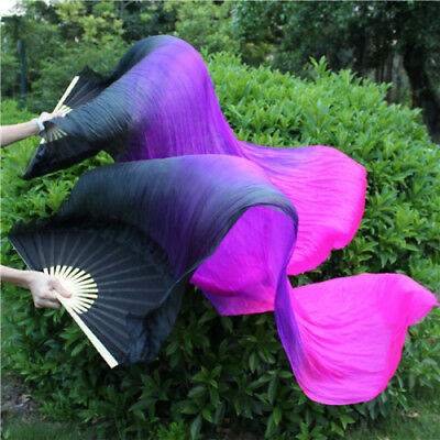 2PCS 1.8M Colorful Dance Belly Dancing Silk Bamboo Long Fans Veils Stage Props