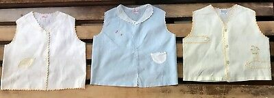 Vintage Baby Boy Girl Unisex Lot of 3 Outfits 1980's Cotton Embroidery Newborn