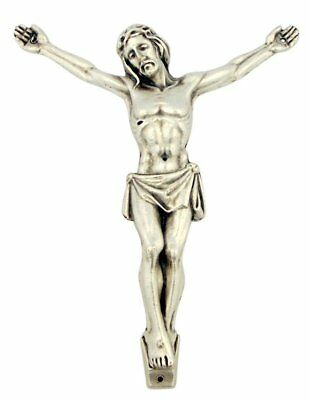 "Silver Tone 4 1/2"" Jesus Christ Corpus with INRI Plate for Pectoral Crucifix"