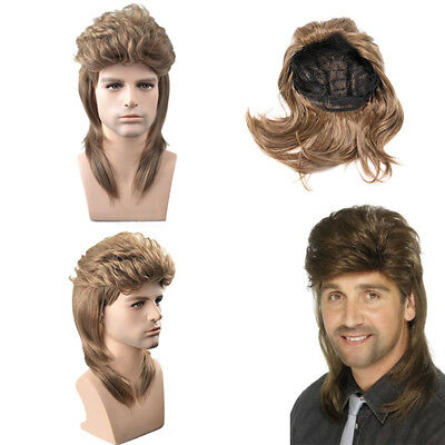Mens Brown Mullet Style Wigs Rocker Disco 80's 1980's Fancy Dress Cosplay Party