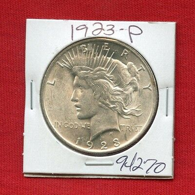 1923 Peace Us Silver Dollar #94270 Brilliant Uncirculated Ms++ Mint State Estate
