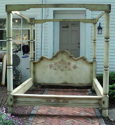 Antique Massive Palace Size French Floral Painted Canopy Bed